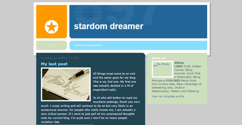 Homepage of Adrian Tan first blog