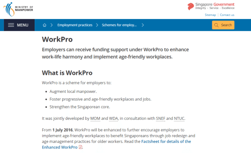 Government funding - workpro