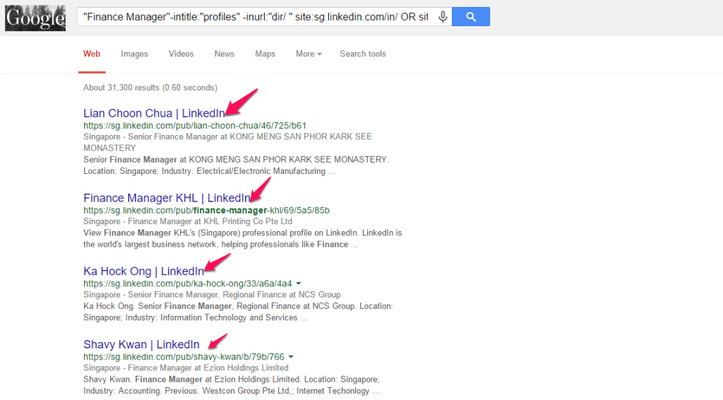 Google Search Results for Finance Manager in Singapore