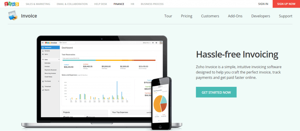 Zoho Invoice Landing Page