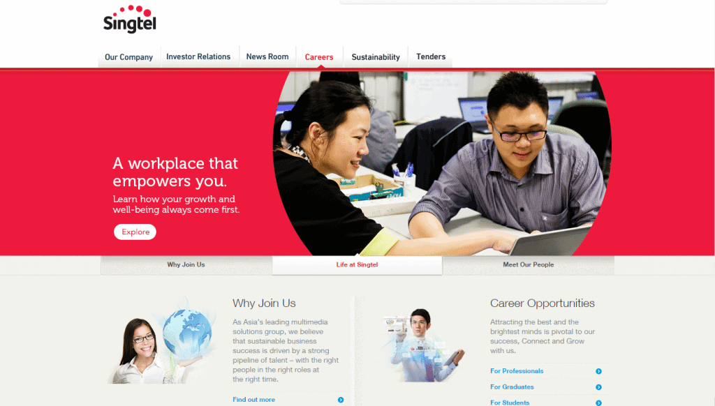 Singtel Career Page