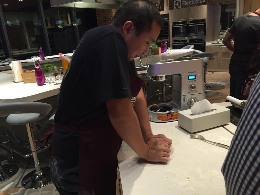 Engene kneading the dough