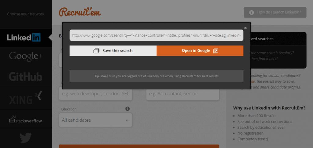 RecruitEm URL Window