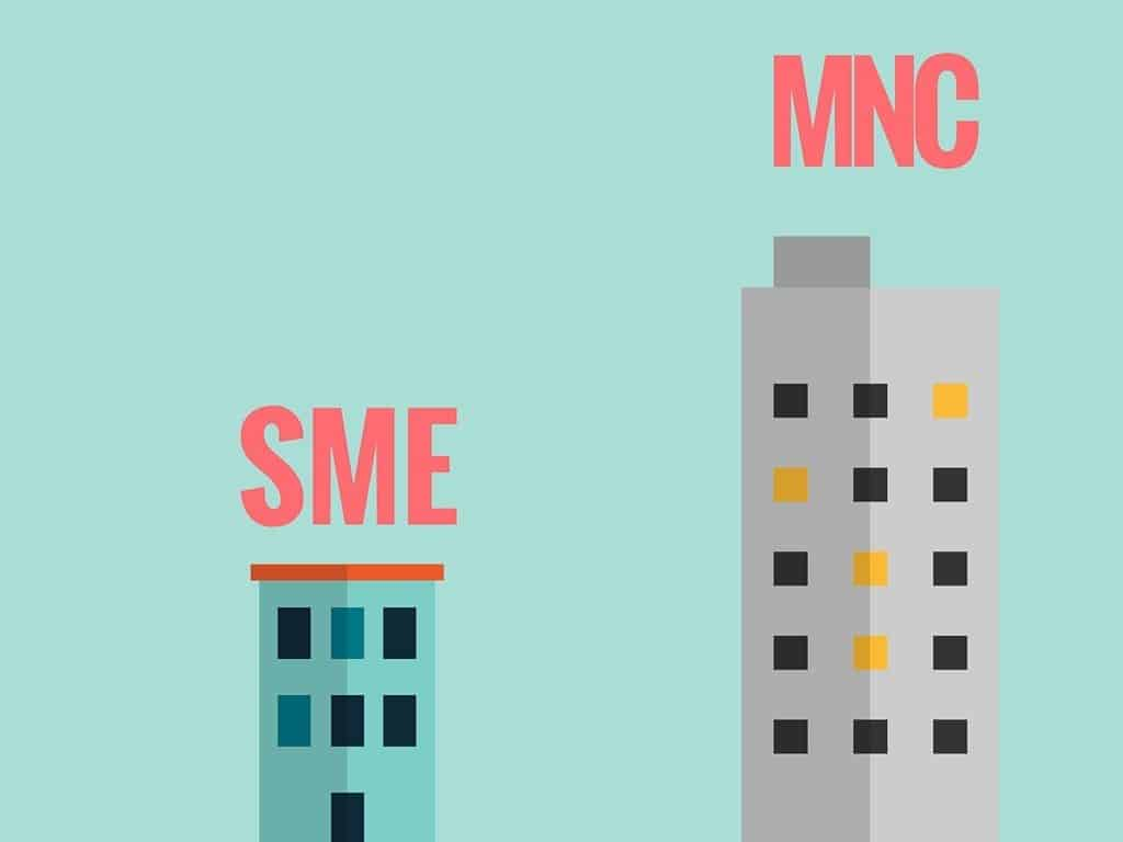 2 buildings depicting SME and MNC