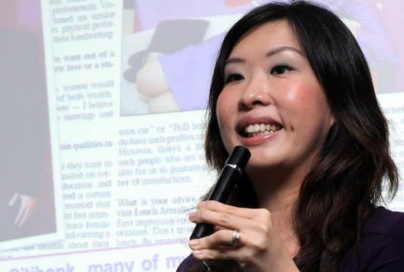 Entrepreneur Violet Lim giving a talk