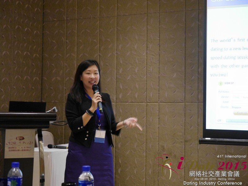 Entrepreneur Violet Lim speaking at Dating Industry Conference in Bejing