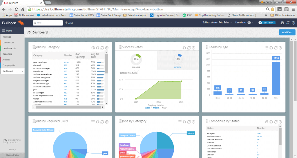 A user will be able to have transparency on their KPIs, revenue, candidates, clients