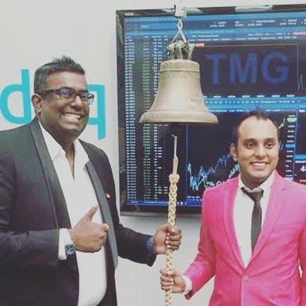 Fintech Pealo Founder & CEO Prakash Somosundram ringing the listing bell