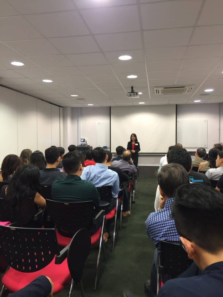 StaffOnDemand Christine Liu giving a talk